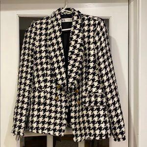 Zara houndstooth tweed blazer gold buttons M